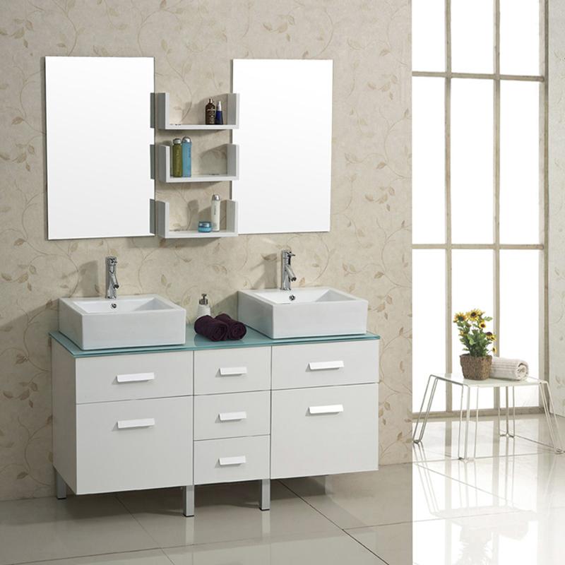 "56.5"" Maybell Double Sink Vanity - White - Bathgems.com"