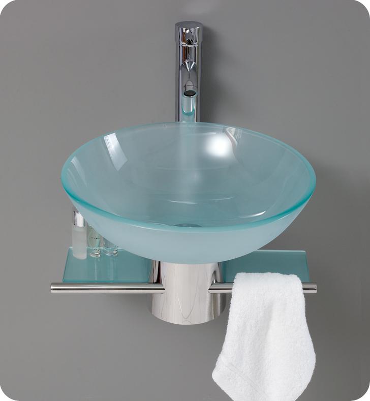 "Bathroom Vanity With Vessel Sink Mount: 17.75"" Cristallino Single Vessel Sink Vanity"