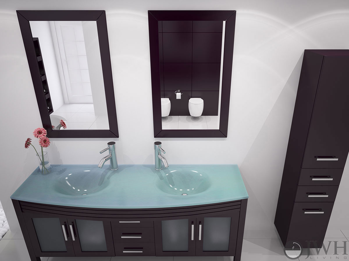 63 grand regent double bathroom vanity glass espresso for Best triple glazing