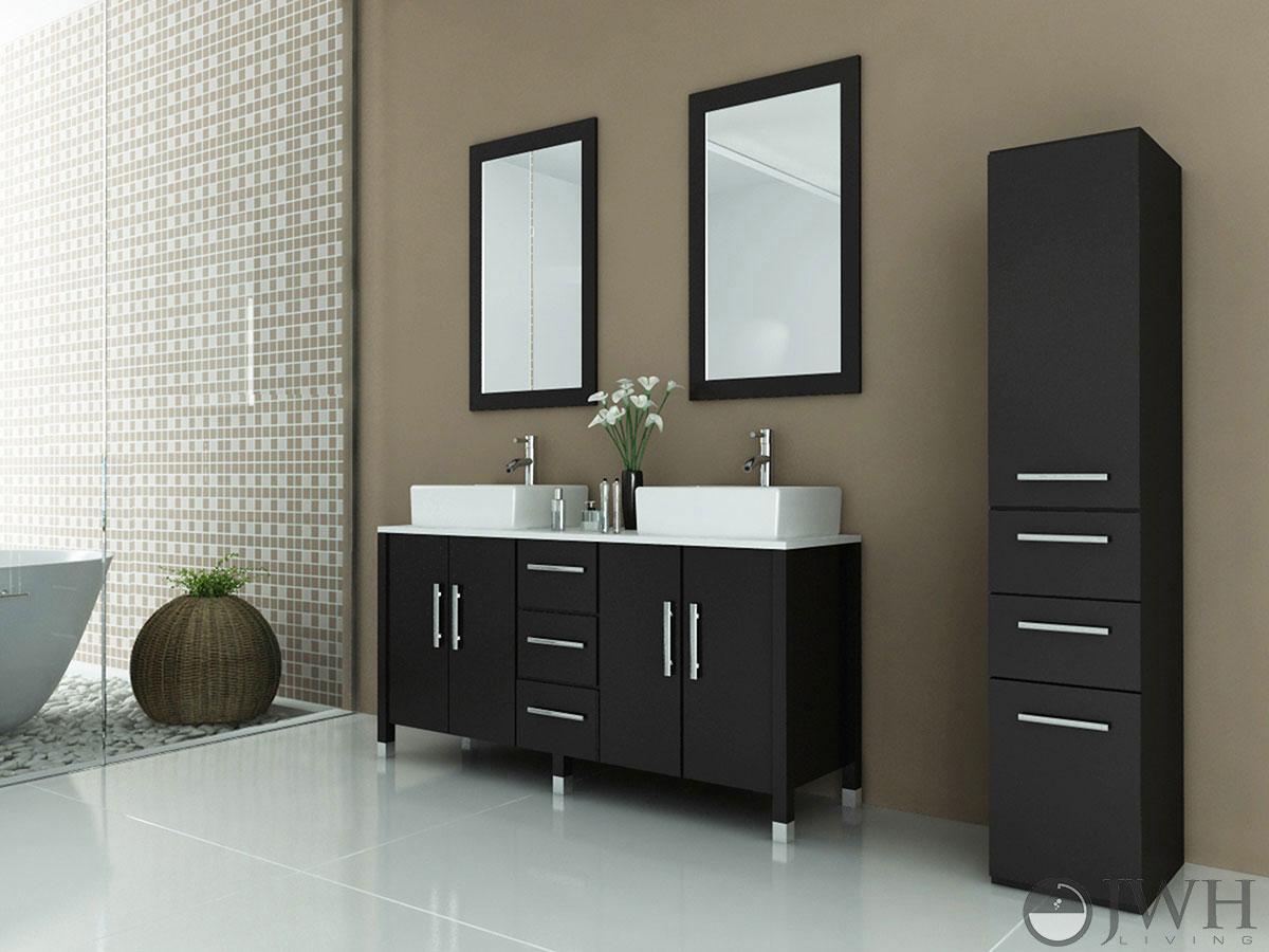 59 sirius double bathroom vanity espresso - Bathroom vanity with vessel sink sale ...