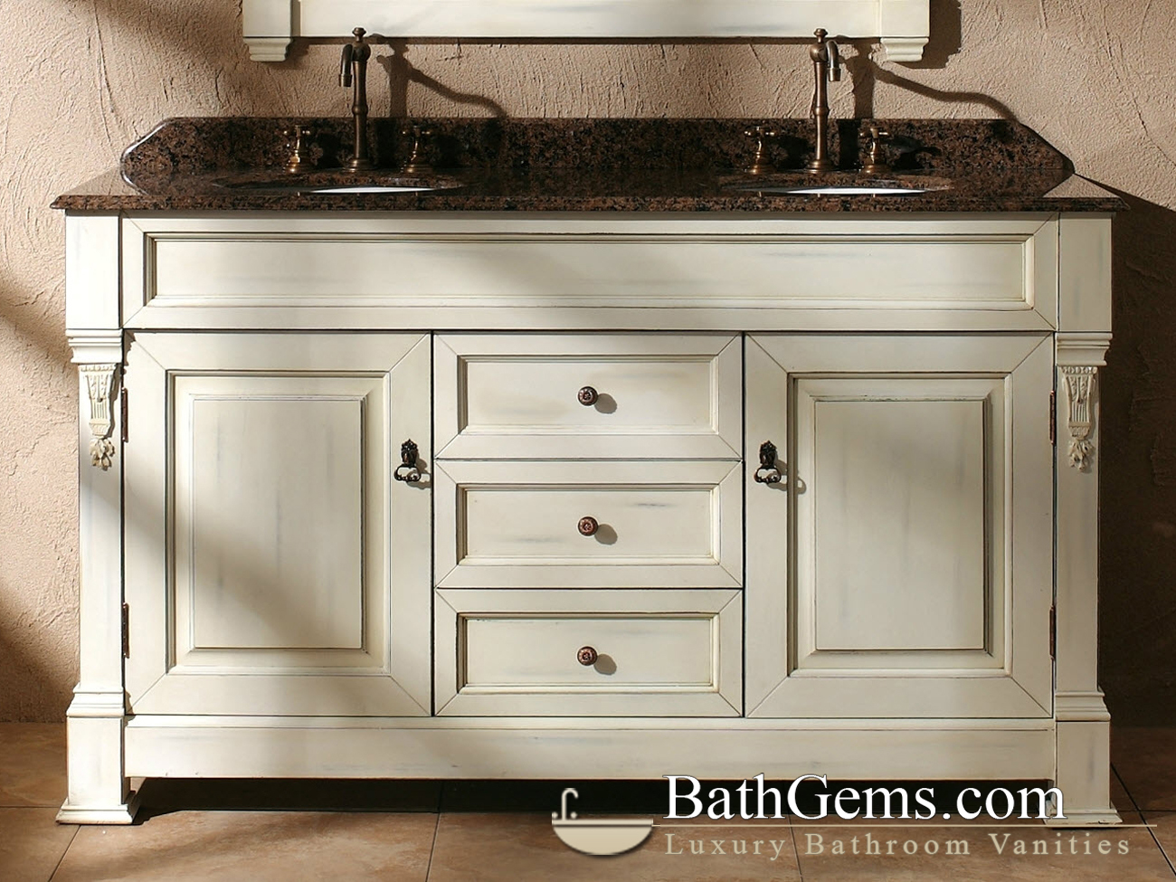 60 peruga double sink vanity antique white for Antique white double bathroom vanity