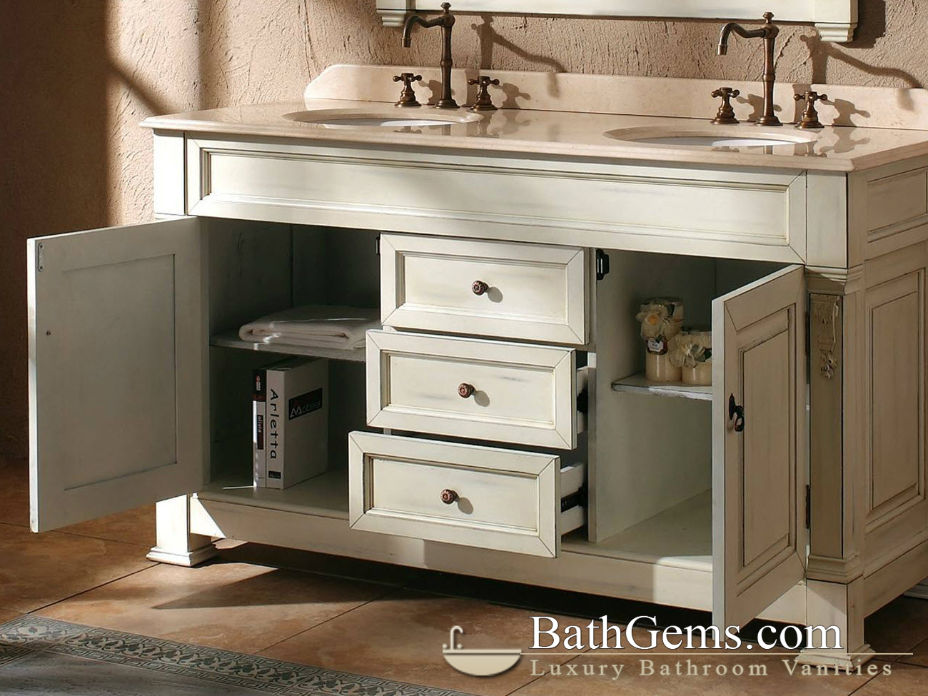 60 Peruga Double Sink Vanity Antique White
